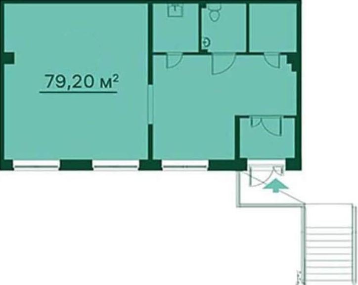 Планировка Коммерческое помещение площадью 79.2 кв.м в ЖК «Эланд»