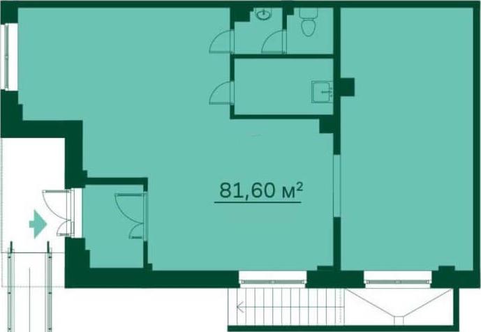 Планировка Коммерческое помещение площадью 81.8 кв.м в ЖК «Эланд»
