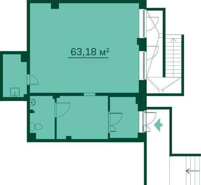 Планировка Коммерческое помещение площадью 63.2 кв.м в ЖК «Эланд»