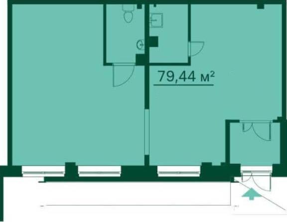 Планировка Коммерческое помещение площадью 79.5 кв.м в ЖК «Эланд»