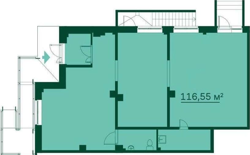 Планировка Коммерческое помещение площадью 116.4 кв.м в ЖК «Эланд»