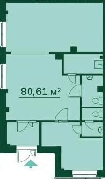 Планировка Коммерческое помещение площадью 80.6 кв.м в ЖК «Эланд»